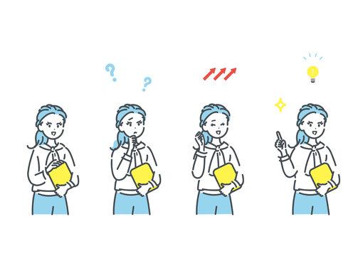 カジュアルなビジネスパーソンの色々な表情のイラスト素材