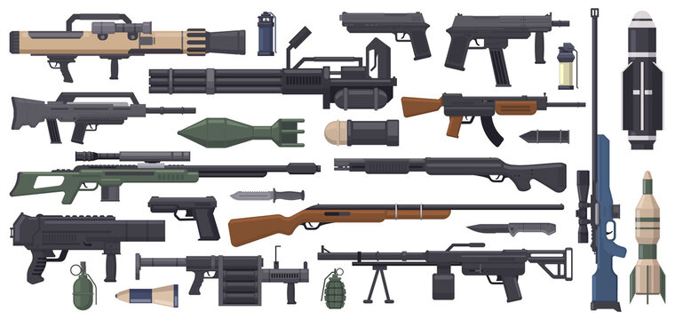 Military weapon. Army weapons, rocket, grenade launcher, machine gun and bazooka isolated vector illustration set. Automatic weapon collection