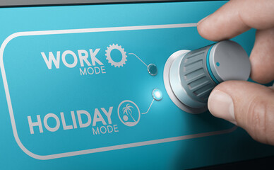 Obraz Holiday closing announcement. Switching in vacation mode. - fototapety do salonu