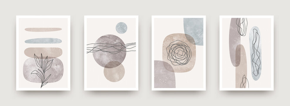 Set of wall art minimal poster. Scandinavian style hand drawn wall art decor. Design with abstract shape, lines and plant. Can be used for cover, print, poster, wall decoration. Vector illustration.