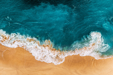 Fototapeta Relaxing aerial beach scene, summer vacation holiday template banner. Waves surf with amazing blue ocean lagoon, sea shore, coastline. Perfect aerial drone top view. Peaceful bright beach, seaside obraz