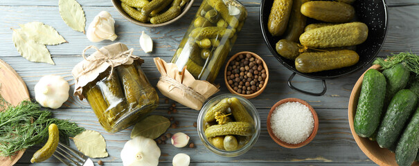 Fototapeta Concept of cooking pickles on gray wooden table obraz
