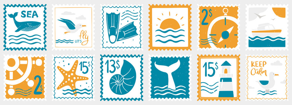 Sea post stamp set. Whale, seagulls, flippers, seascape, compass, yacht, steering wheel, starfish, shell, whale tail and lighthouse. Vector flat hand drawn illustration
