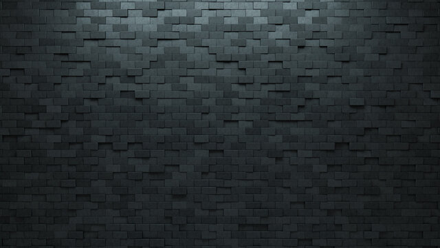 Rectangular, Concrete Mosaic Tiles arranged in the shape of a wall. 3D, Polished, Bricks stacked to create a Semigloss block background. 3D Render