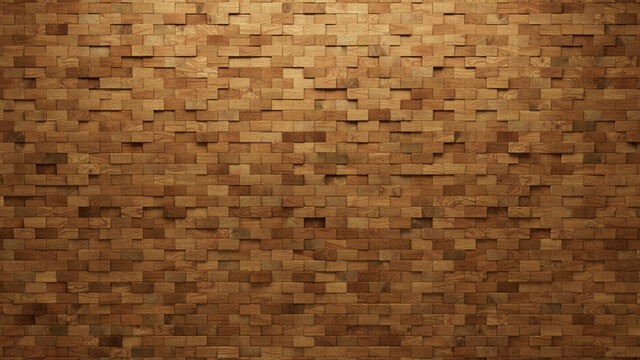 Rectangular, Timber Mosaic Tiles arranged in the shape of a wall. Wood, 3D, Blocks stacked to create a Soft sheen block background. 3D Render