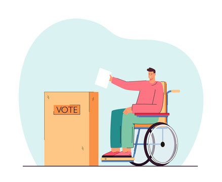 Disabled person on wheelchair putting voting paper in ballot box. Handicapped man at polling station flat vector illustration. Election, accessibility, government concept for banner, website design