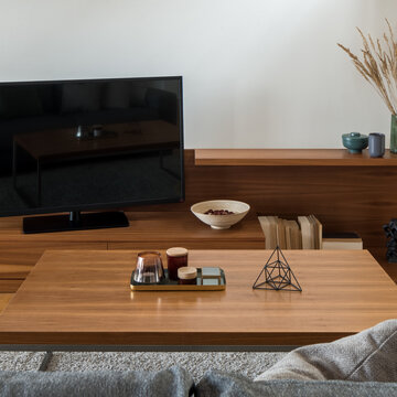 Wooden coffee table with decorations, close-up