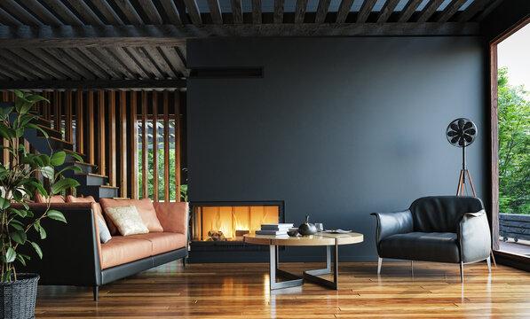 Modern dark home interior background, wall mock up, 3d render