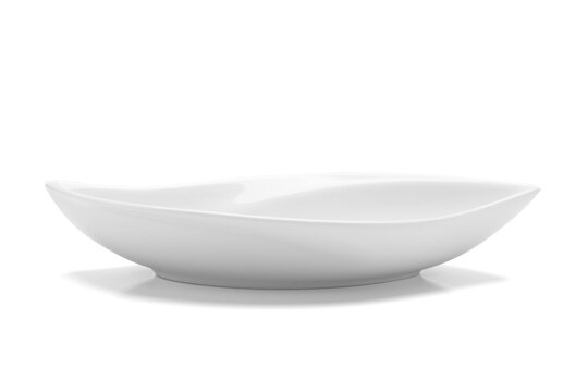 Empty white plate made of ceramic or Melamine for food shaped like leaves with an oval shape.Serving tray isolated on white background