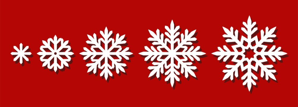 Set of snowflakes of different sizes. Silhouettes of decorative ornaments for Christmas, New Year, winter holidays. Vector template for plotter laser cutting of paper, wood carving, metal engraving.