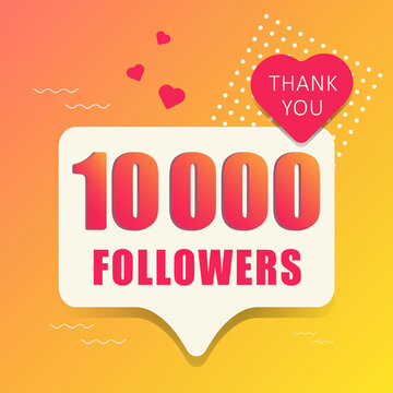Thank you 10 000 followers. Banner, button, poster for social networks. Vector illustration.
