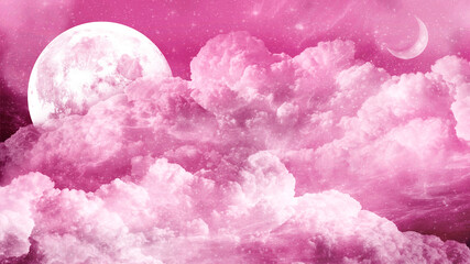 Magic pink sky with white fluffy clouds, a mysterious aerial landscape with little crescent moon, gentle space with large moon and stars, fairytale romantic background with heavenly place.