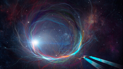 Obraz Space background. Spaceship flying to colorful fractal tunnel with nebula stars. Elements furnished by NASA. 3D rendering - fototapety do salonu