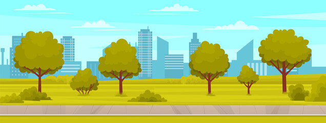 Street with plants and asphalt road. Roadway with sidewalk near summer park. Landscape with nature and driveway. Natural landscape around highway. View of garden, trees and road vector illustration