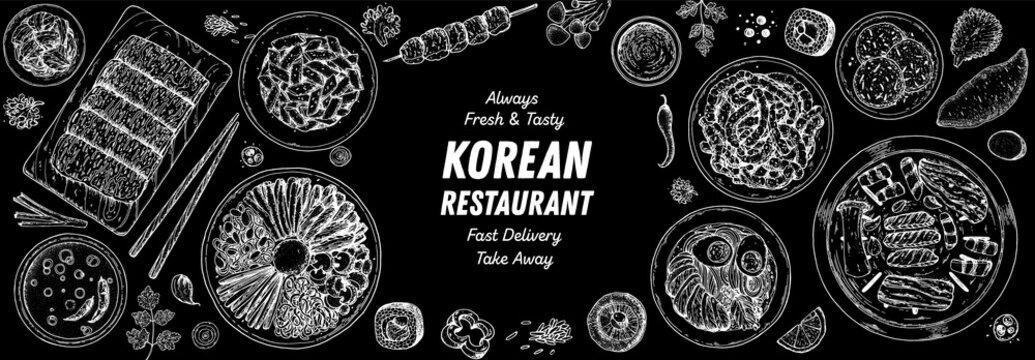 Korean food top view illustration. Hand drawn sketch. Bibimbap, kimchi, kimbap, noodles, skewers. Korean street food, take away menu design. Vector illustration.