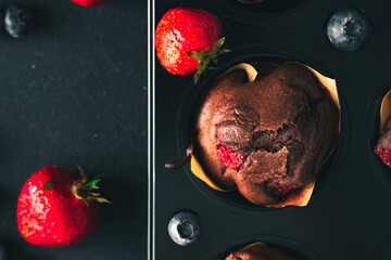 Fototapeta Muffin. Chocolate muffins with stawberry. Muffins on wooden stand. obraz