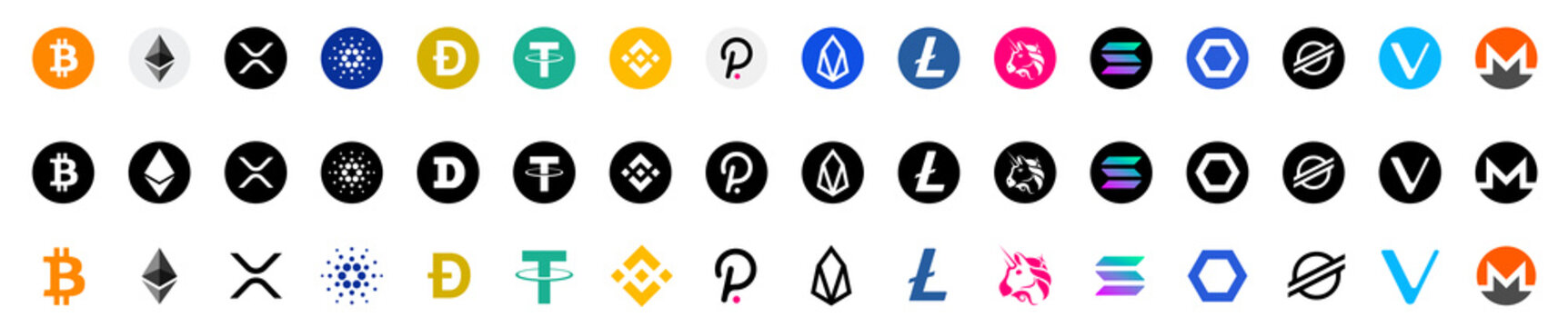 Cryptocurrency tokens icon set. Cryptocurrencies or crypto logos. Collection top cryptocurrency: Bitcoin, Ethereum, Dogecoin, Tether, Cardano, XRP and other. Flet style - stock vector editorial.