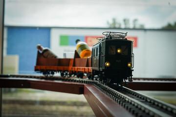 Closeup shot of a toy train