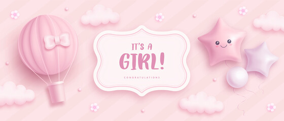 Obraz Baby shower horizontal banner with cartoon hot air balloon, helium balloons and flowers on pink background. It's a girl. Vector illustration - fototapety do salonu