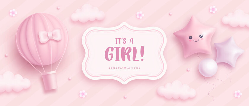 Baby shower horizontal banner with cartoon hot air balloon, helium balloons and flowers on pink background. It's a girl. Vector illustration