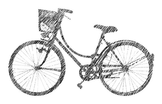 Black sketch of an old bicycle with basket on white background f