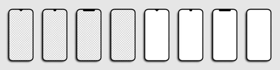 Fototapeta Realistic Smartphone. Phones with white and transparent screen. Template mobile phones, isolated. Vector illustration obraz