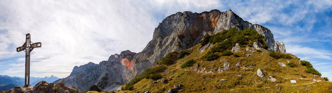 Panorama view Heubergkopf mountain, Untersberg in Bavaria, Germany