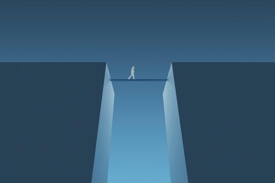 Three dimensional render of wireframe man crossing bridge between two cliffs