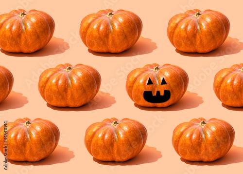 Pattern of raw pumpkins surrounding single jack-o-lantern