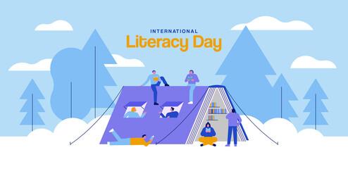 Fototapeta Literacy Day open book tent people camping card obraz