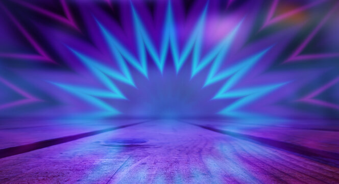 Neon abstract light rays on a dark background. Light effect, laser show, surface reflection. Ultraviolet radiation, nightclub. 3d illustration