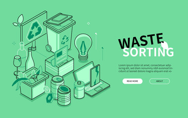 Obraz Waste sorting - line design style isometric banner - fototapety do salonu