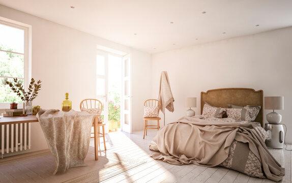 3D design of bedroom at home