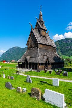 Norway, Vestland, Vikoyri, Hopperstad Stave Church on sunny day