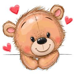 Obraz Drawing Teddy bear on a white background - fototapety do salonu