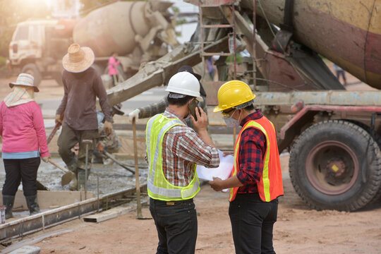 survey engineer in construction site