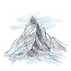 Fototapeta Alpy Rysunek ręcznie rysowany. Widok na górę Matterhorn obraz