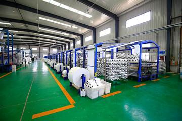 Fototapeta Packaging equipment, industrial factory automation production li obraz