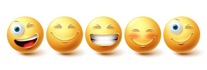 Fototapeta Smileys emoji happy face vector set. Smiley icons and emoticon with funny, happy and winking facial expressions in yellow color isolated in white background. Vector illustration obraz