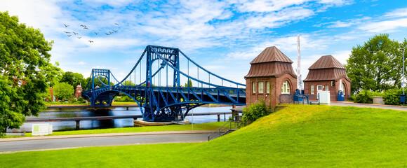 View to the Kaiser-Wilhelm-Bridge over the Ems-Jade Kanal in Wilhelmshaven, Germany