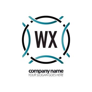 Initial Letter WX Circle Sport Logo Design Template. Creative circle template logo
