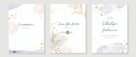 Fototapeta Abstract art background vector. Luxury invitation card background with golden line art flower and botanical leaves, Organic shapes, Watercolor. Vector invite design for wedding and vip cover template. obraz