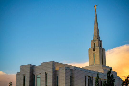Low angle view of a mormon church in Utah at the sunset