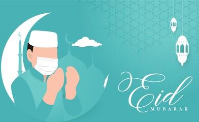 Obraz Eid Mubarak greeting card design at COVID 19 situation.Elegant vector background with flat illustration  - fototapety do salonu