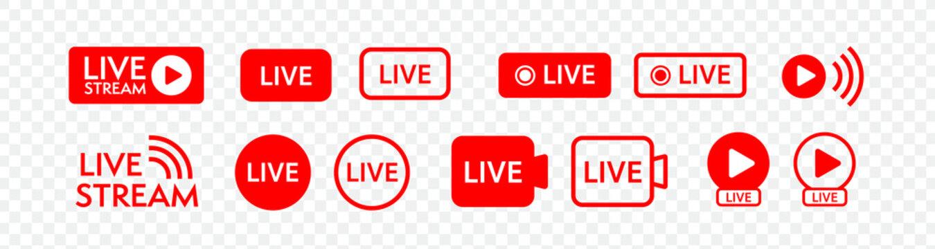ライブ、ストリーミング動画のベクターアイコンセット。