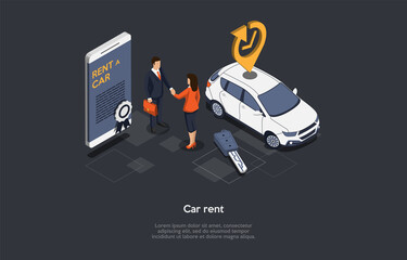 Obraz Vector Illustration, Car Rent Concept. Isometric 3D Composition, Cartoon Style. Vehicle Livery Service, Business Strategy, Daily Pay. Characters Shaking Hands. Smartphone With Information On Screen - fototapety do salonu