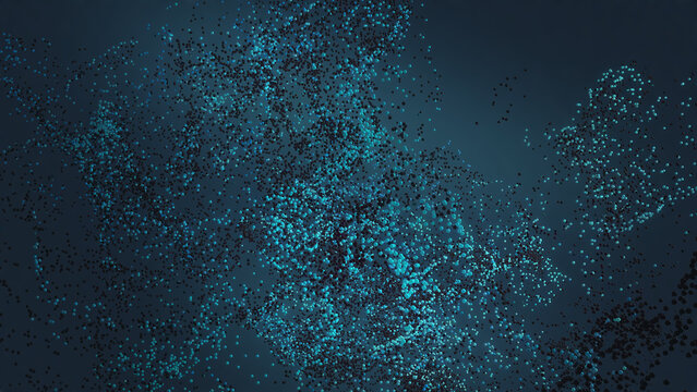 Abstract cloud of tiny particles flying in deep blue space