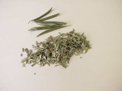 Dried and chopped leaves from the olive tree for olive leaf tea