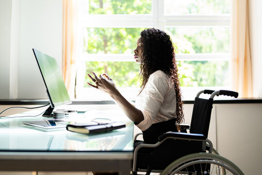 Disabled Person At Work Doing Yoga Meditation