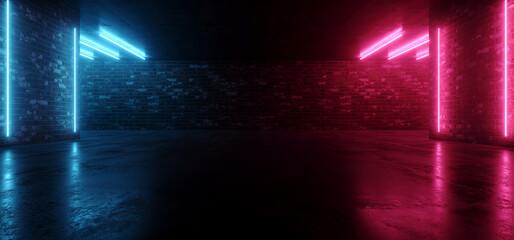 Showcase Neon Club Retro Brick Walls Concrete Grunge Underground Club Dark Cyber Purple Blue Lights Hangar Car Parking Room Tunnel Corridor Hallway 3D Rendering